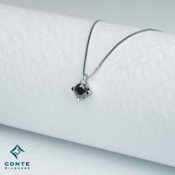 Collana punto luce - diamante nero 0,20 ct